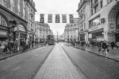 Calle ocupada y cantada de Oxford en Londres Foto de archivo