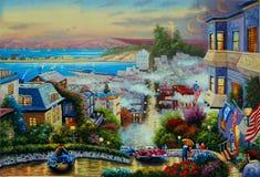 Calle original del lombardo de la pintura al óleo Foto de archivo libre de regalías
