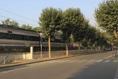 Calle plana sin la gente en Calella Imagen de archivo