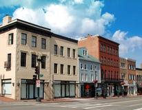 Calle principal de la pequeña ciudad Fotografía de archivo libre de regalías