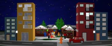 Calle principal que pasa por alto un mercado de la Navidad Panorama Imagenes de archivo