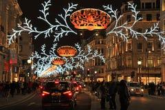Calle regente en la Navidad, Londres Imagen de archivo libre de regalías