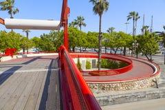 Calle roja en Barcelona Foto de archivo