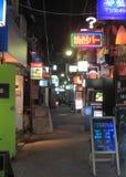 Calle trasera Tokio Japón de la vida de noche Imágenes de archivo libres de regalías
