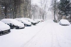 Calle vacía del invierno Imagenes de archivo