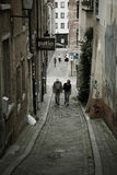 Calle vieja, Bruselas, Bélgica Foto de archivo libre de regalías