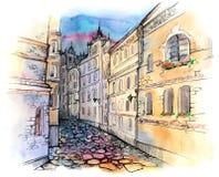 Calle vieja de la ciudad stock de ilustración