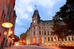 Calle vieja de la ciudad de Quebec imagenes de archivo