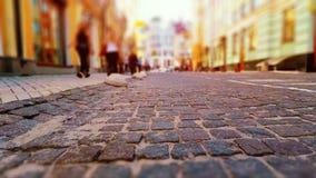 Calle vieja de la ciudad en colores retros Foto de archivo