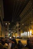 Calle vieja de Roma en la noche Imagenes de archivo