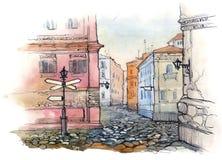 Calle vieja del sity stock de ilustración