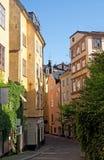 Calle vieja en el centro de Estocolmo Imagen de archivo