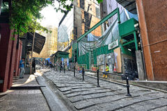 Calle vieja en Hong Kong Fotos de archivo libres de regalías