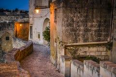 calle vieja en Matera Fotografía de archivo libre de regalías