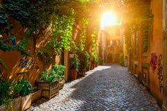 Calle vieja en Trastevere, Roma fotografía de archivo libre de regalías