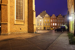 Calle y cuadrado de Kanonia en la ciudad vieja de Varsovia Foto de archivo libre de regalías