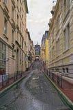Calle y la primavera en Evian-les-Bains en Francia en invierno adentro Imágenes de archivo libres de regalías