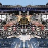 Calle y puente abstractos de Oporto con color azul ilustración del vector