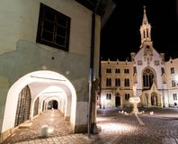 Arcaded House and Saint Ursuline Church in Sopron, Hungary royalty free stock photos
