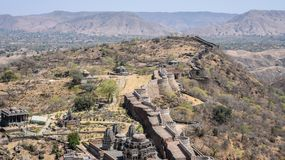 Fort in Rajasthan longest wall. Called as Kumbhalgarh fort is a Hill fort in Rajasthan, India. Declared as UNESCO World Heritage site and has 38 km long wall royalty free stock images