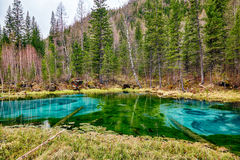 So-called blue geyser lake in Altay mountains Royalty Free Stock Photo