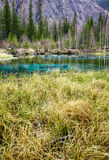 So-called blue geyser lake in Altay mountains Stock Photos