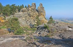So called Devils Wall, Germany. The Teufelsmauer (Devil's Wall) at (because of the shape of the rocks) so-called Hamburg coat of arms at Blankenburg in the Harz stock image