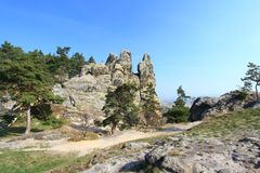 So called Devils Wall, Saxony-Anhalt, Germany. The Teufelsmauer (Devil's Wall) at (because of the shape of the rocks) so-called Hamburg coat of arms at Royalty Free Stock Image