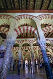 The forrest of pillars in the great Mosque in Cordoba, Spain stock photography