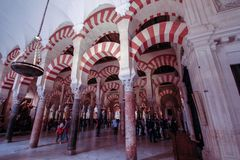 The forrest of pillars in the great Mosque in Cordoba, Spain royalty free stock images
