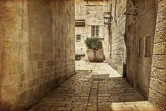 Callejón antiguo en el cuarto judío, Jerusalén fotografía de archivo libre de regalías