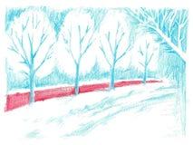 Callejón azul y arbusto rojo Dibujo de l?piz en el papel libre illustration