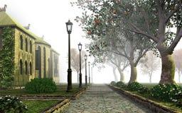 Callejón brumoso del parque Imágenes de archivo libres de regalías