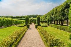 Callejón con los árboles y los arbustos acortados en los jardines del castillo de Villandry, Francia Foto de archivo