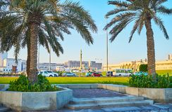 Callejón de la palma en Doha, Qatar Imagen de archivo