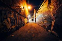 Callejón de la pintada en la noche, en el distrito de la moda de Toronto, Ontario Imagen de archivo libre de regalías