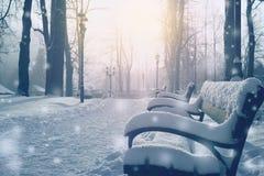 Callejón del cuento de hadas del invierno por completo de la nieve imagen de archivo libre de regalías