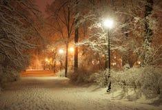 Callejón del invierno en la noche fotografía de archivo