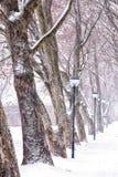Callejón en día nevoso Fotos de archivo