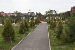 Callejón en el parque 70 años de victoria en la ciudad de vacaciones de Gelendzhik Fotos de archivo