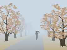 Callejón en niebla ilustración del vector