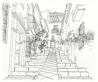 Callejón estrecho en ciudad libre illustration