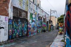 Callejón mural en el distrito de la misión foto de archivo