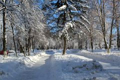 Callejón nevado en la ciudad foto de archivo