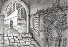 Callejón pavimentado mediterráneo antiguo libre illustration
