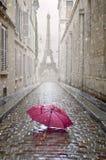 Callejón romántico en un día lluvioso foto de archivo