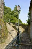 Callejón típico en Château-Gontier Imagen de archivo libre de regalías