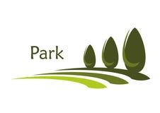 Callejón verde del parque con el icono abstracto de los arbustos stock de ilustración