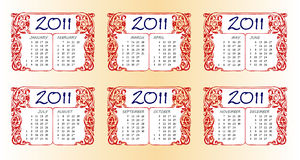 Callendar for year 2011. Illustration with calendar for year 2011 Stock Image