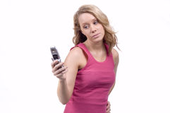 Caller ID. Young teen on cell phone searching thru address book Royalty Free Stock Photos